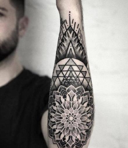 包小臂梵花纹身 16款小臂位置的黑色梵花纹身图案
