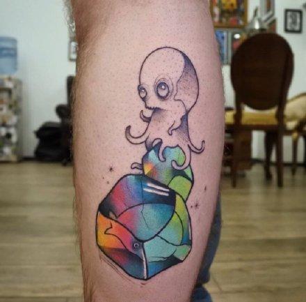 一组可爱的卡通女生彩色纹身图案欣赏