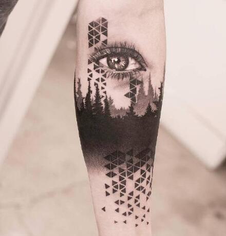 休斯顿纹身师Victor del Fueyo de la Torre几何+抽象写实的纹身作品
