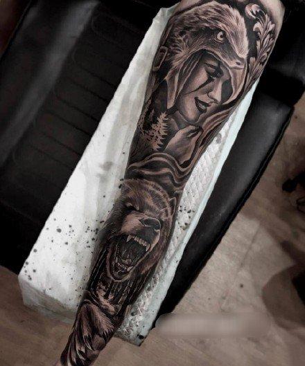 黑灰色的9款写实霸气花臂花腿纹身作品图片