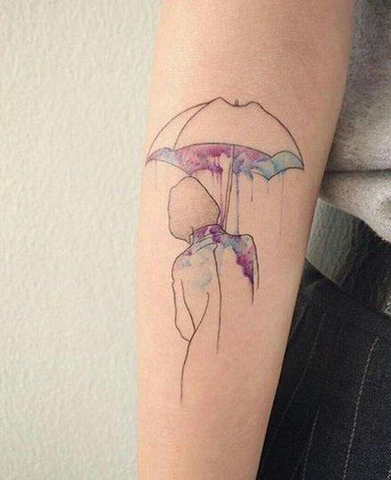 雨中情 下雨天打雨伞主题的一组纹身作品图案
