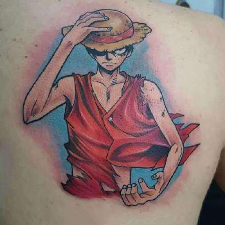 路飞纹身 9款海贼王草帽路飞的纹身图案