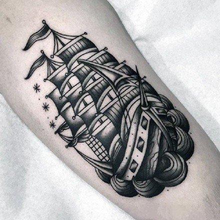 帆船纹身 9款帆船主题的船纹身图片
