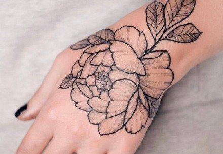 芍药纹身 芍药素花主题的一组纹身图案