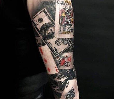 扑克牌纹身 9款扑克牌主题的写实纹身作品图片