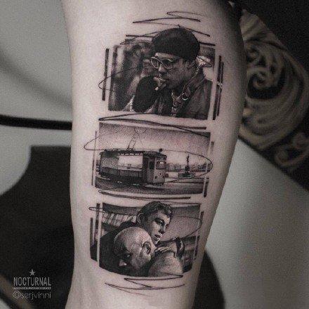 经典影视主题的照片风格纹身作品图案