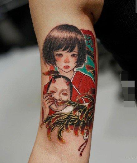 楚动人的9款艺伎古风女孩子纹身图片