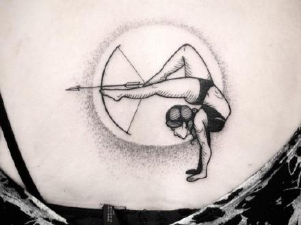 各风格9款圆形小图纹身作品