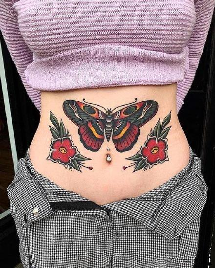 oldschool的一组漂亮蝴蝶纹身图片