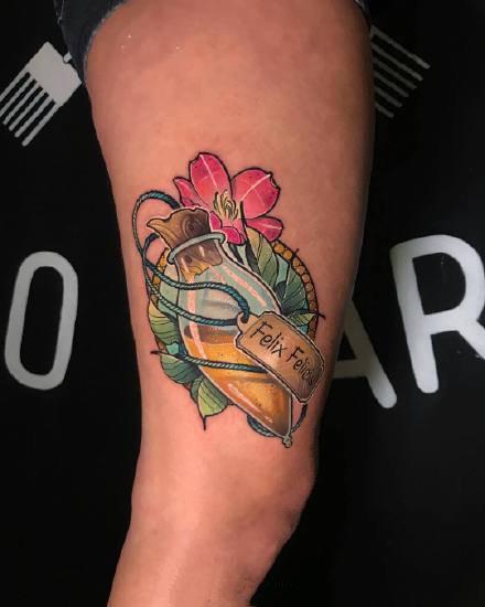 一组彩色复古纹身图案欣赏