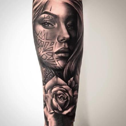 一组欧美写实人像纹身图案