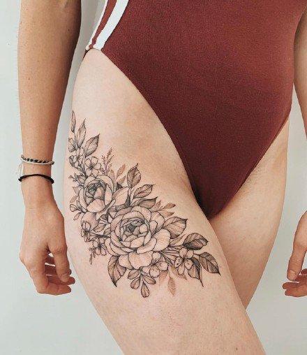 一组朴素的素花纹身图案欣赏