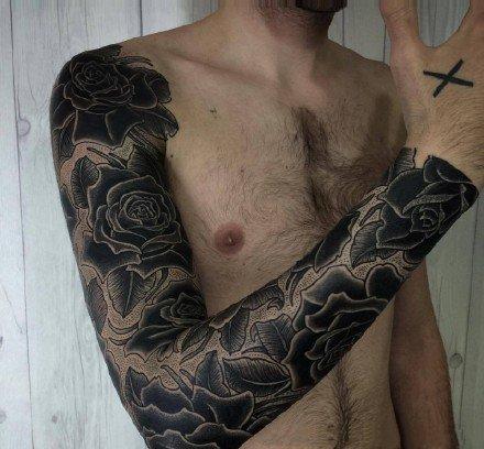 一组几何手臂男士纹身图案