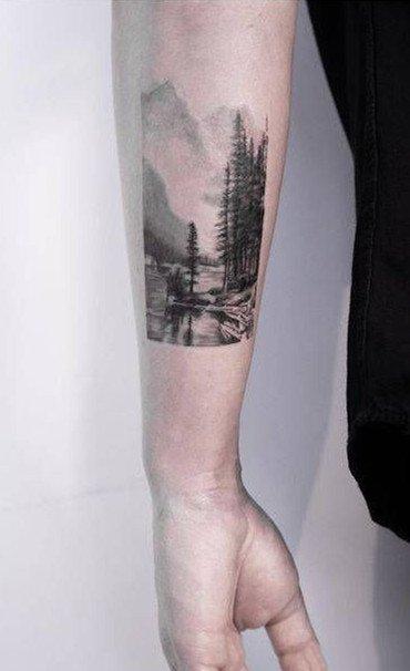 一组黑灰写实男生纹身图案