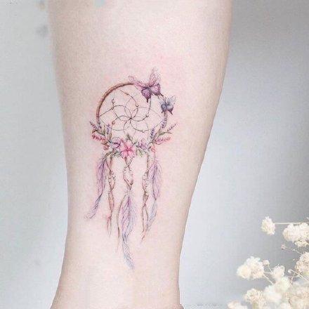 一组女生唯美彩色纹身图案