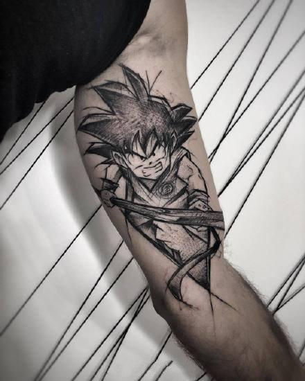 一组暗黑风格的卡通纹身图案