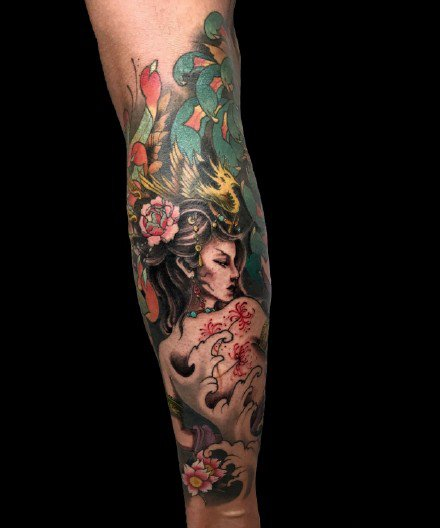 一组小腿欧美写实彩色纹身图案