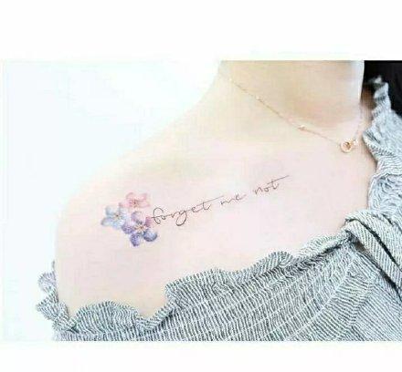 一组小清新女生肩花纹身