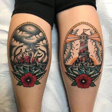 一组双手双腿搭配的彩色纹身