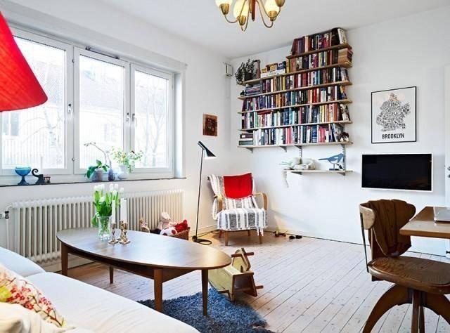 客厅书架办公桌椅装修案例