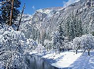 在白雪覆盖下的高山雪景图片