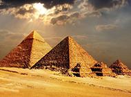 古埃及金字塔夕阳下唯美风景图片