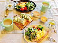 丰盛早餐食物美味诱人