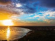 夕阳海滨风景美图壁纸