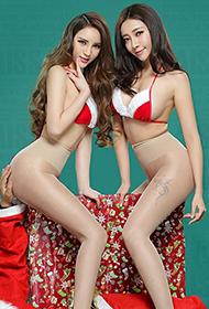 姐妹花高跟肉丝庆圣诞时尚人体艺术图