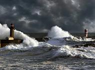 汹涌壮观的海浪高清山水风景图片