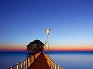 黄昏下的码头唯美风景图片