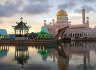沙巴水上清真寺高清摄影图片