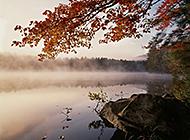 清晨湖泊烟雾缭绕浪漫美景