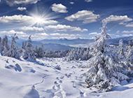 壮丽冬天雪山洁白风景图片欣赏
