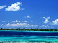 海边蓝天白云风景意境迷人