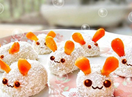 超萌小白兔饭团美食图片