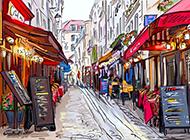 法国巴黎街景高清手绘图片