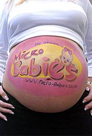幸福孕妇的创意人体肚皮彩绘图片