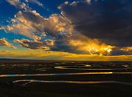 蓝天白云草原夕阳自然风景图片