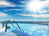游泳池精美设计美丽风景图片