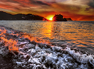 清晨日出海景迷离山水风景图片