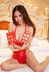 陈思琪红色蕾丝贺新年