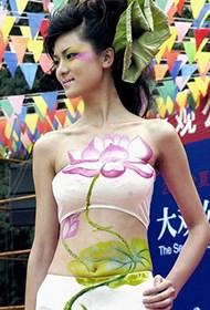 甜美印度模特人体彩绘照片