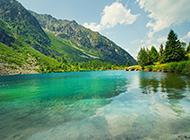 绿色森林优美湖泊风景图片