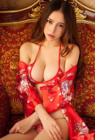 中俄混血美女陈思琪红色喜庆大胆人体艺术照