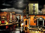 西班牙城市街景高动态风景图片