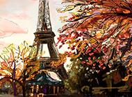 法国巴黎埃菲尔铁塔高清手绘图片