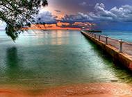 黄昏码头唯美自然风光图片