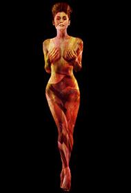 性感美女演绎光影人体彩绘写真