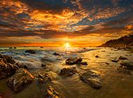 海边黄昏风景图片